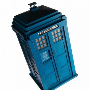 Tardis model in card & balsa wood