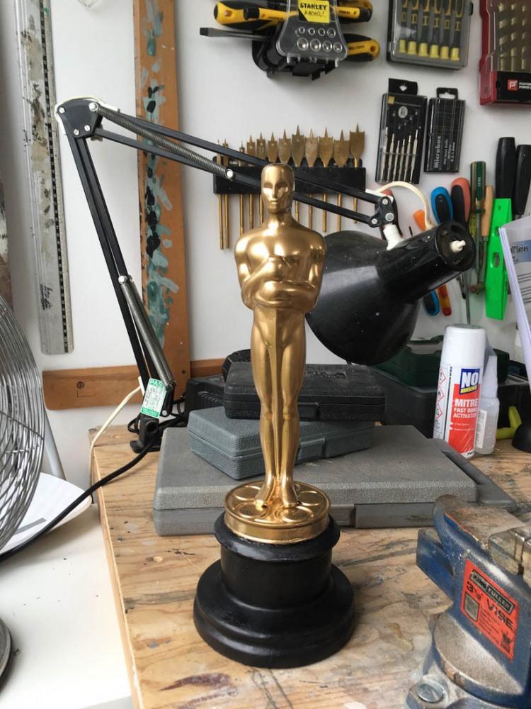 "Soft Oscar statue for fight scene in ""Ulster American"" for Traverse Theatre (2018)"