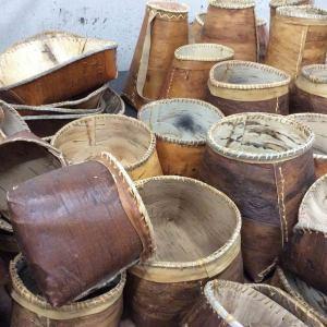 Fake birch bark baskets (polyurethane rubber/Airex)