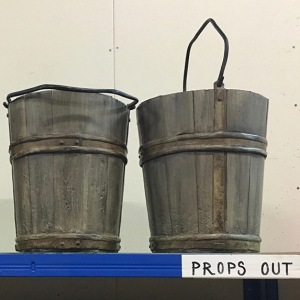 Real wooden bucket and two soft replicas