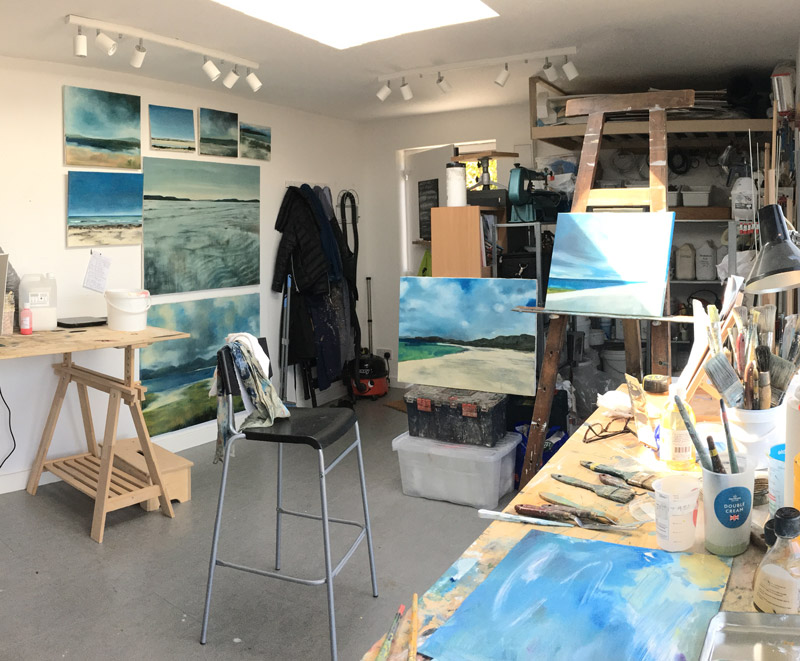 paintings in studio